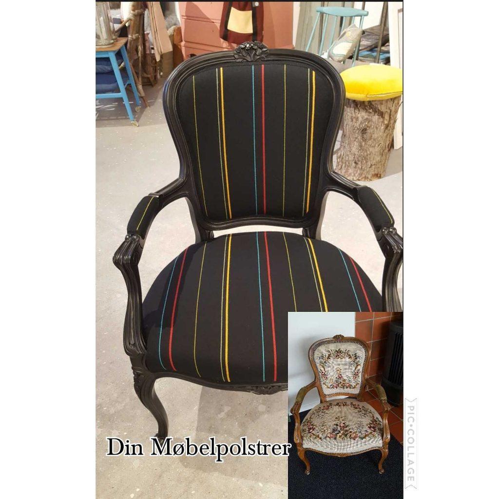ompolstring af antik stol